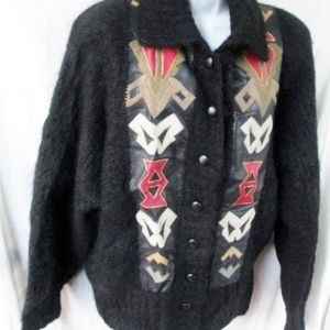 Womens Southwest Leather Knit Ethnic MOHAIR Jacket